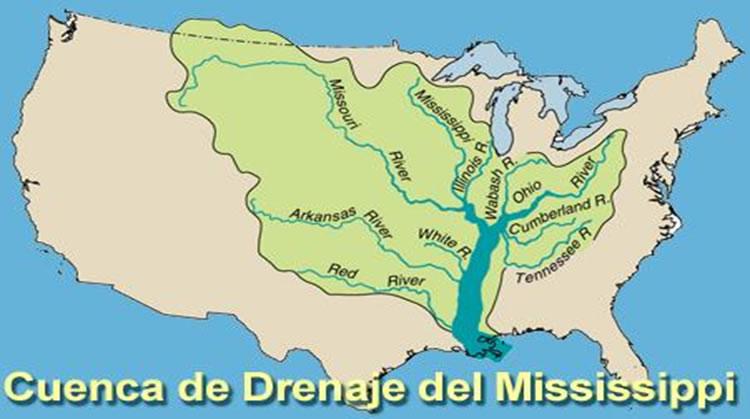 Cuenca de drenaje del río Mississippi en EUA.