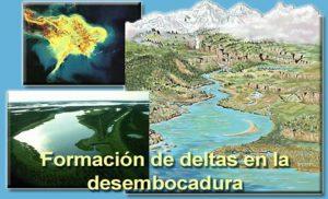 Formación de deltas en la desembocadura de un río